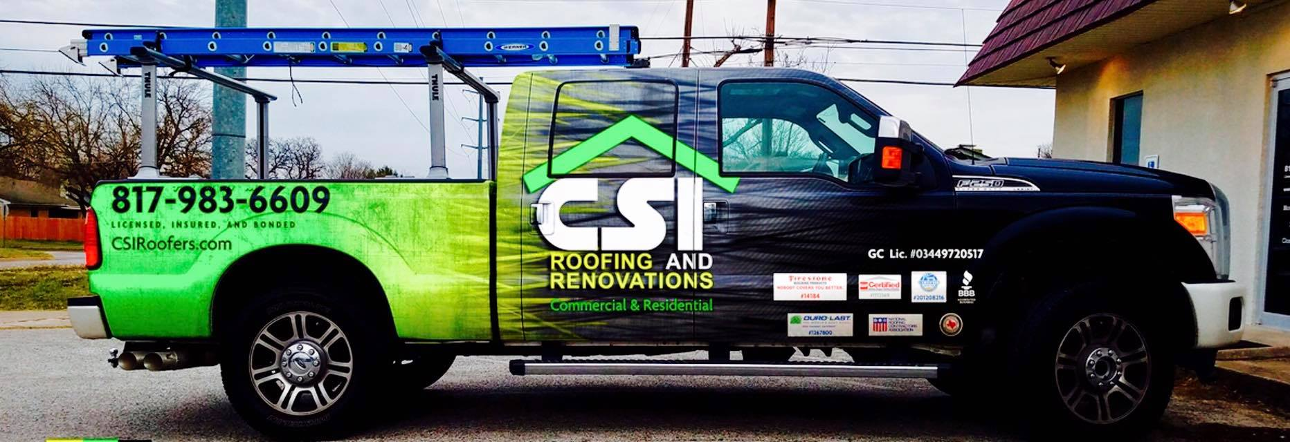CSI Truck Giving Free Roofing Estimate