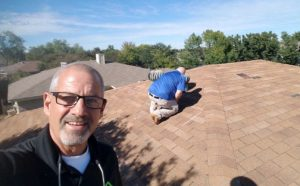 Gary inspecting a roof in Southlake TX